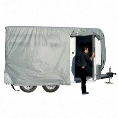 "Picture of ADCO SFS AquaShed (R) Gray Fabric/Poly Cover For 12' 1""-14' Bumper Pull Horse Trailers 46003 01-3432"