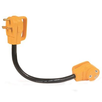 """Picture of Camco Power Grip (TM) 18"""" 30A Extension Cord w/Plug Head Handle 55205 19-0486"""