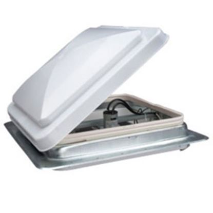 """Picture of Heng's  White 14""""x14"""" Metal Frame Roof Vent w/Fan 71112-C1G2 69-9157"""